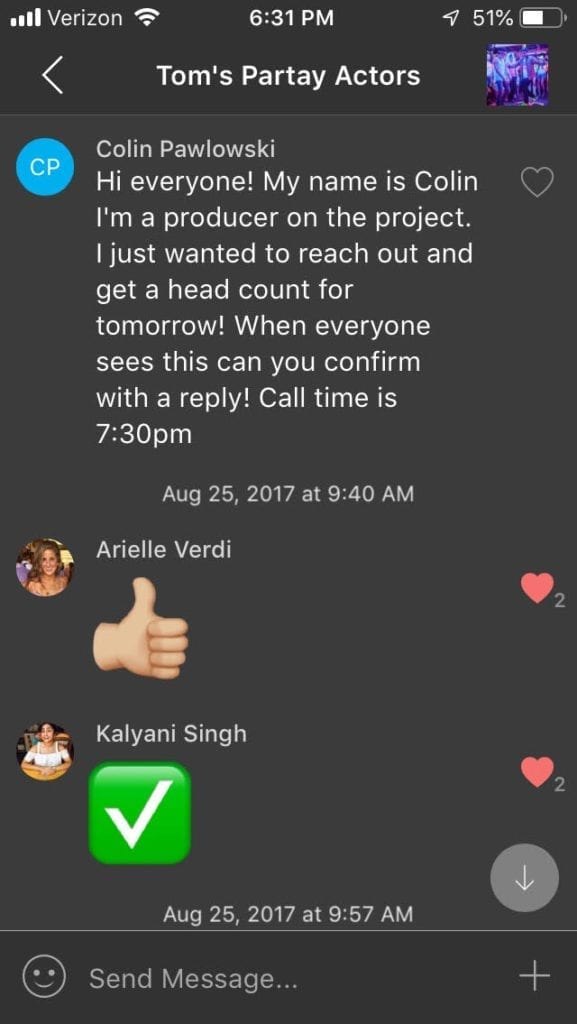 screenshot from director's group chat with friends