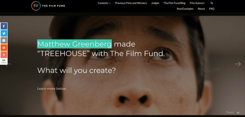 homepage of the fim fund short film funding contest