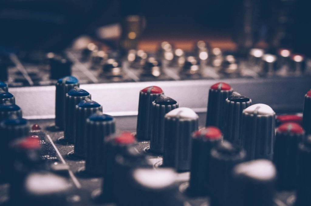 close-up of sound mixing console