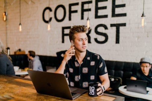 entrepreneur filmmaker in coffee shop